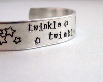 Starry Sky Bracelet - Twinkle Twinkle -  Hand Stamped Aluminum Cuff - customizable