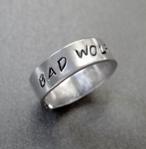 Bad Wolf - Adjustable Skinny Ring - Hand Stamped Aluminum Wraparound Ring