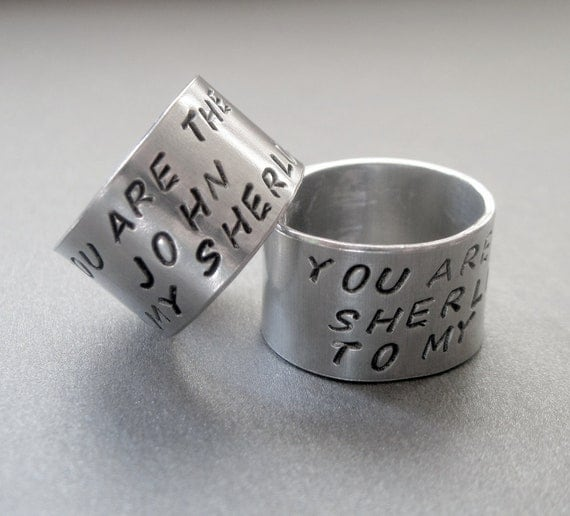 Friendship Rings SET OF TWO - You Are the Sherlock to My John/John to My Sherlock - Hand Stamped Aluminum - names are customizable