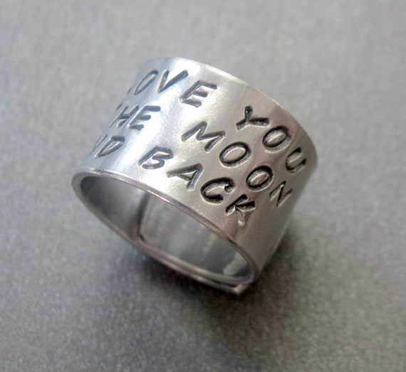 Hand Stamped Aluminum Ring - I Love You to the Moon and Back