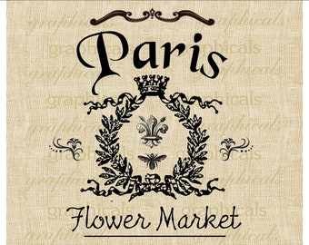 Vintage Paris flower market Crown Bee instant clip art Digital image download for transfer to fabric burlap paper pillow tote  No. 337
