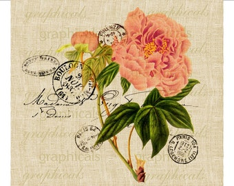 Pink peony Paris postmark instant clip art Digital download graphic image for iron on fabric transfer burlap decoupage pillows tote No. 676