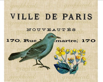 French decor instant clip art Teal bird Flower digital download graphic image for iron on fabric transfer burlap decoupage pillow tote 1767