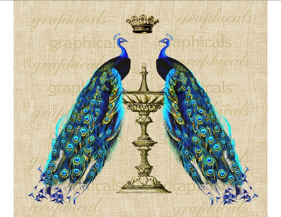 Vintage peacocks Gold vase birds crown Digital download graphic image for Iron on fabric transfer burlap decoupage pillows tote bags No. 500