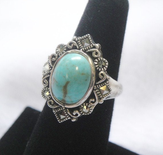 Turquoise Ring with Marcasites - Sterling Silver - Vintage