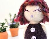 VERA - purple needle felted doll - zakka feltie miniature doll