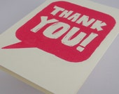 Thank You Card Raspberry Screenprint