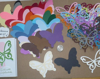 60 PC Total 2 Different Size Shapes Butterfly - Die Cut pieces Made from Rainbow color cardstock paper