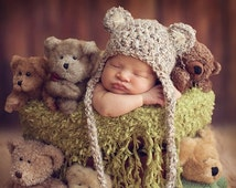 SALE & READY Baby Hat - Baby Bear Hat  - Baby Boy Hat - Baby Girl Hat-  2 Color Choices Earflaps and Ties with pom pom's