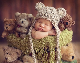READY Baby Hat - Baby Bear Hat  - Baby Boy Hat - Baby Girl Hat-  2 COLOR CHOICES Earflaps & Ties with pom pom's