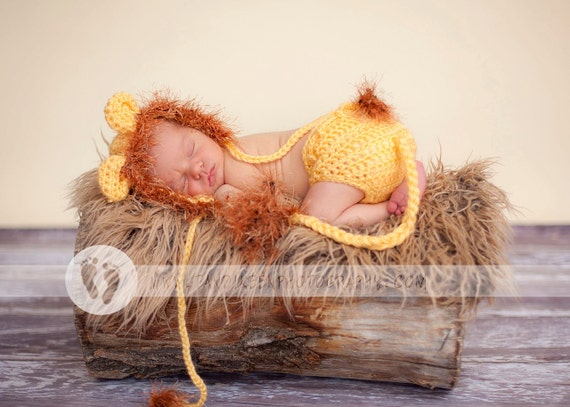 EXPRESS SHIPPING Newborn Baby Lion Hat & Diaper Cover Earflaps, Ties and  Fun Textured Mane