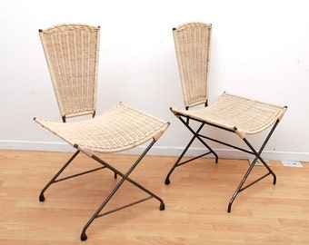 Mid Century Modern Wicker & Iron Acapulco Chairs Sculptural Shape