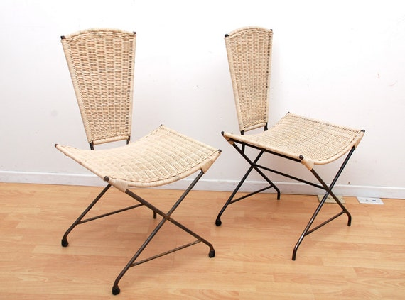 Mid Century Modern Wicker Iron Acapulco Chairs Sculptural