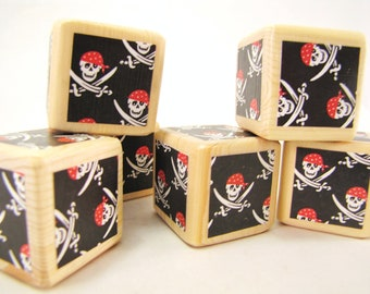 Pirate Baby Shower Decoration. Pirate Party Decor.Nursery Baby Blocks, Toddler Toy, custom birthday gift for boys. Black