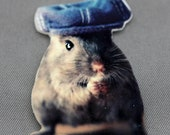 Refrigerator Magnet Gerbil Wearing A Denim Newsboy Hat Shrink Plastic