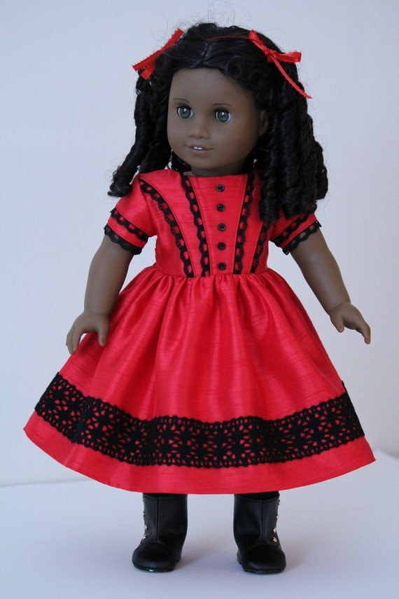 Red Satin Christmas Dress for Cecile or Marie Grace