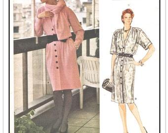 VOGUE Pattern 1342 - Misses' Designer Yves Saint Laurent Shirtwaist Dress and Scarf - Sz 12 B34 - Uncut/FF - Vintage 1980s