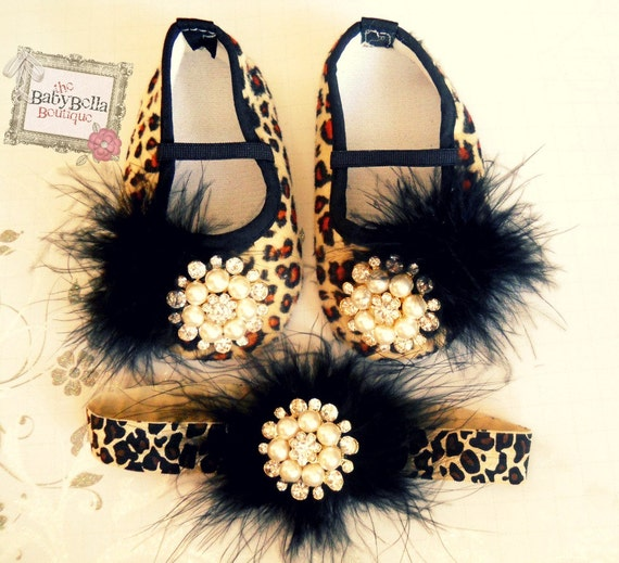 Glamour baby girl  Leopard shoes and headband set,,Booties -Baby Crib Shoes - Leopard Baby shoes.THE ORIGINALS.