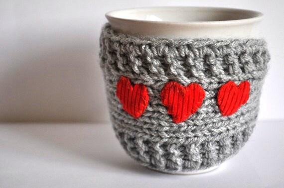 Knitted Mug Warmers Pattern : Items similar to Mug Cozy with red heart, Cup Cosy, Mug Warmer knitted, mediu...