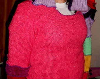 Hot Pink and Rainbow - Recycled Sweater -Upcycled Sweater Size Small - Reconstructed Sweater Hoodie - Festival Clothing