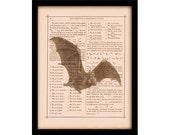 "Vintage Vampire Bat Halloween Decorations on Antique Book Page Art Print 8""x10"", Halloween Sign Party Decor"