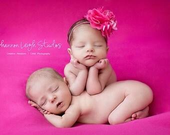 Baby Headband Satin Mesh Flower Headband Newborn Photo Prop Several Colors Available