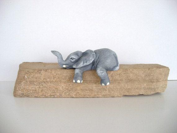 Ceramic baby elephant - shelf sleeper elephant