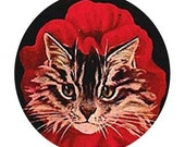 1 1/2 Fabric Cat Button - Little Red Riding Hood Kitten Red Bonnet on Black Ready to Ship