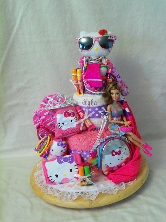 Big Sister 3 tier Towel cake - an adorable birthday gift - made to order