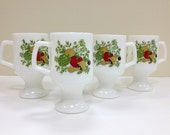 Spice O Life Pedestal Mugs Milk Glass Vegetables