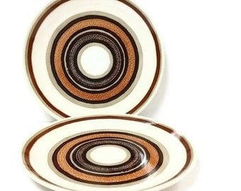 Royal China Santa Fe Dinner Plates Retro Brown Circles