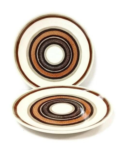 Royal China Santa Fe Dinner Plates Retro Brown Circles