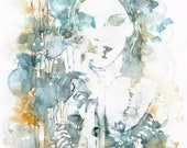 """Original watercolor painting, 12 x 18"""" portrait of a woman in water, gold, emerald green, sea blue"""