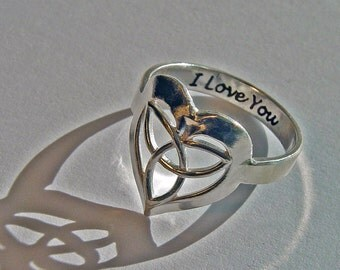 Celtic heart ring, wedding jewelry, engraved ring, personalized ring, custom infinity ring, wedding ring, engagement ring, hand stamped ring