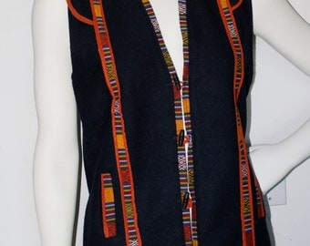 Vintage Early '90s Guatemalan Navy Blue Brushed Wool Vest Scifi Shoulders & Ikat Piping