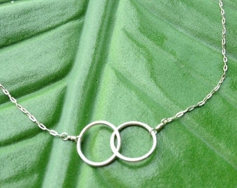 Sterling Silver Double Loop Eternity Necklace