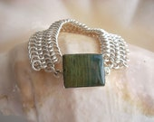 Cuff Bracelet in Argentium Silver with Sterling and Polychrome Ocean Jasper Clasp - European 4-in-1 weave