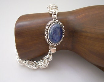 Bracelet: Kyanite Box Clasp on an Argentium Silver Handmade Chainmaille
