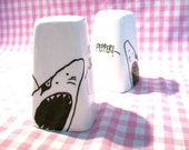 Shark Salt and Pepper Shakers featuring Hand Painted illustrations