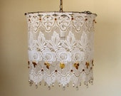 Simply White -Lacy Hanging Lamp Shade
