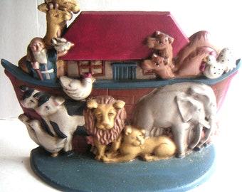 Vintage Heavy Cast Iron Noah's Arc Door Stopper, Bible Story,The Great Flood,Nursery,Children's Room