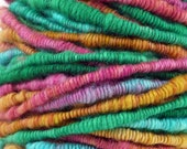 Art Yarn Coiled Yarn  Handspun Thick and Thin CARIBBEAN REFLECTIONS