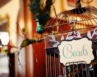 Wedding Gift Cards Sign for Box Birdcage or Basket - Available in 2 Sizes & Custom Colors