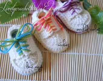 Crochet Baby shoes mini sneakers-colorful lacey-summer colors