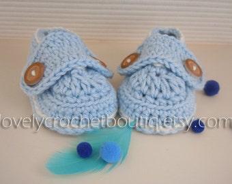 Crochet Baby Booties - 100% Sky Blue broken white trim Newborn - 3 months