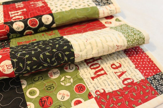 Christmas Quilted Runner, patchwork holiday table decoration, joy, peace, hope decor in red, green, black, photo prop