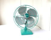 Vintage Fan, Dominion Fan, Turquoise Fan, Oscillating Fan, Aqua Fan, Turquoise and Grey