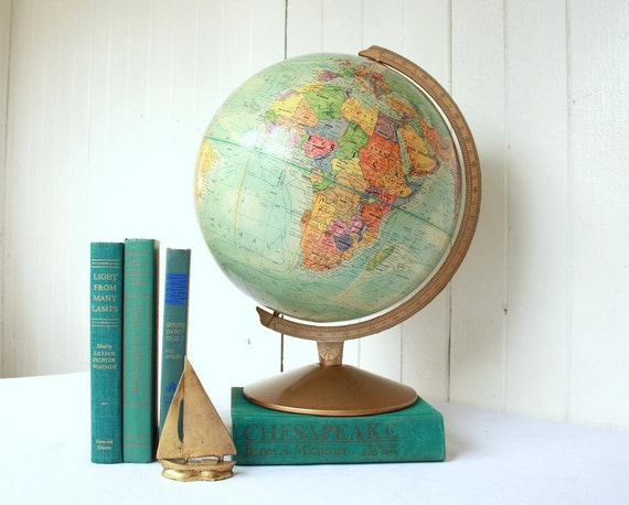 Vintage Globe, Replogle Globe, World Nation Series, 12 inch Globe, Turquoise, Ocean, Nautical Decor, Back to School