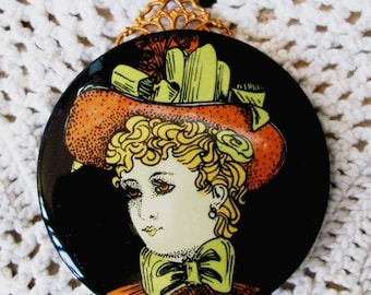 "HANDMADE Glass NECKLACE -""Painted Lady""- SALE! -  Black, Portrait, Elegant, Simple, Lady & Hat, Vintage Repurposed,  Victorian Style"