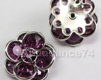Swarovski Crystal 60478 Flower Filigree Finding  with 8 holes - Silver metal, Amethyst 14mm